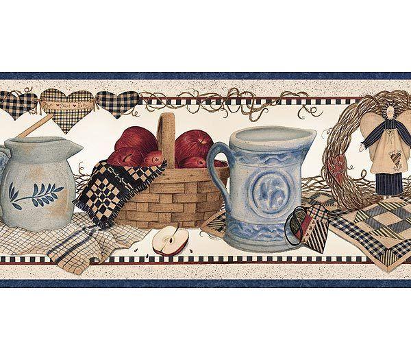 Blue Country Shelf Wallpaper Border Sanat Decoupage Baski