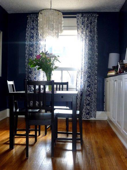 New Ikea Curtains In Our Newburyport Blue BM Dining Room