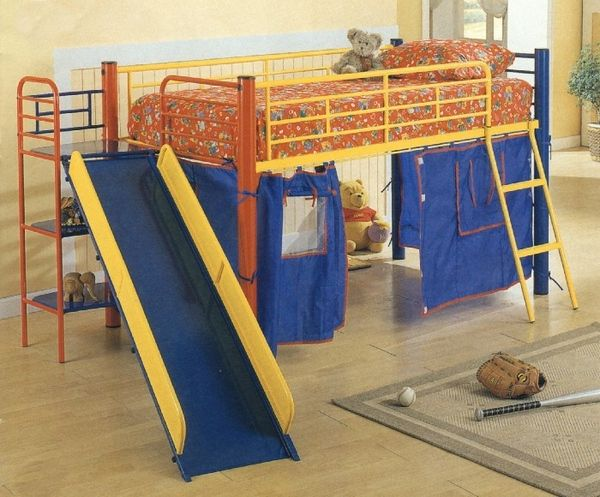 Blue Kids Bunk Beds Designs With Slide For The Boys Bed