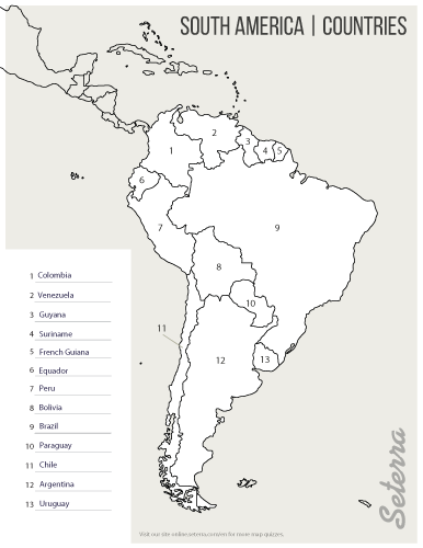 04. Key for printable South America countries quiz (pdf) | Geography ...