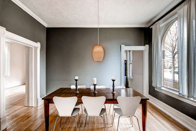 Beautiful Updated Sunnyside, Denver, CO Victorian Meets Modern Furniture  And Gray Walls With White Trim. Nice!