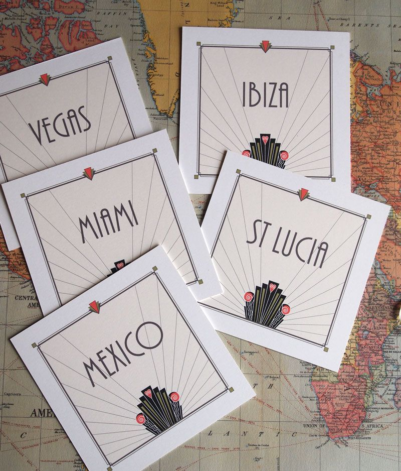 Wedding Planner Names Ideas: Travel Themed Wedding - Table Names