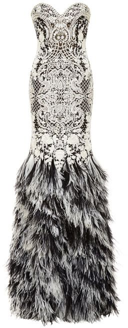 63b3741da9 Naeem Khan Baroque Beaded Gown With Ostrich Feather Skirt Black/White on  shopstyle.com