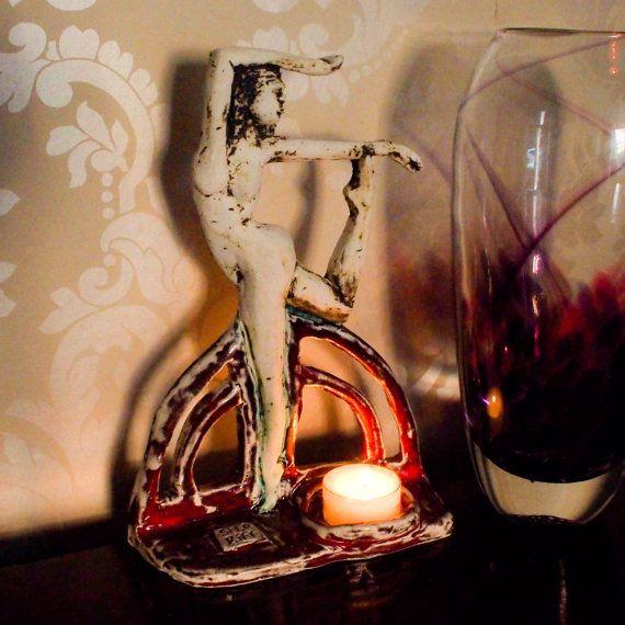 Tea Light sculptureddancer statue of ballerina by Sherriffclay