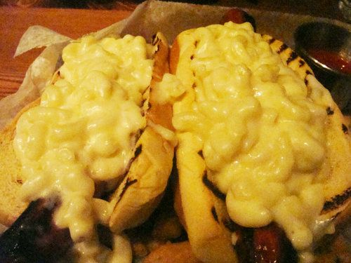 Ditch Dogs (Two hot dogs topped with mac 'n cheese)