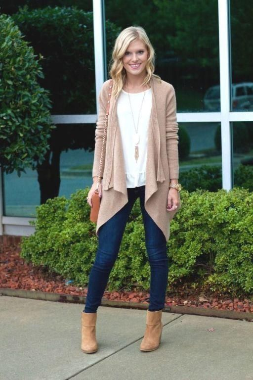 beige tan cardigan with jeans, How to style your ankle boots this fall http