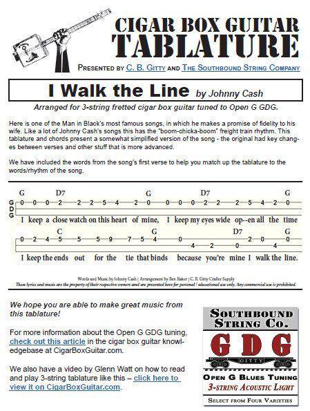 I Walk the Line by Johnny Cash - Cigar Box Guitar Tabs PDF | Cigar ...