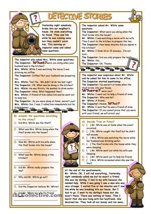 Reading Detective Stories worksheet - FREE worksheet ...