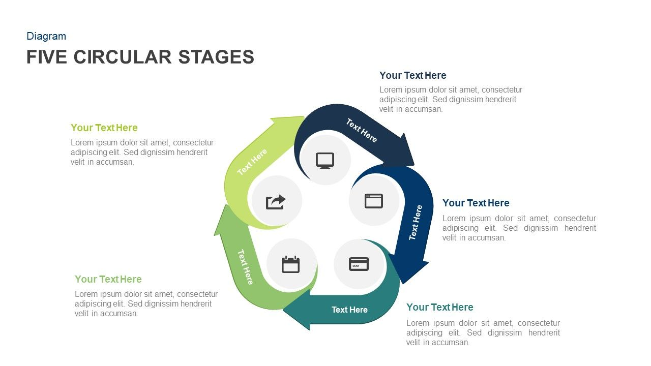 Circular Stages Powerpoint Template And Keynote Slide Process Flow Diagram Ppt Designed With Arrow