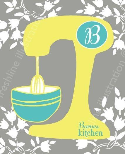 Kitchen Mixer Monogram Family Last Name Custom Art Print 8x10 in Your Color Scheme. $18,95, via Etsy.
