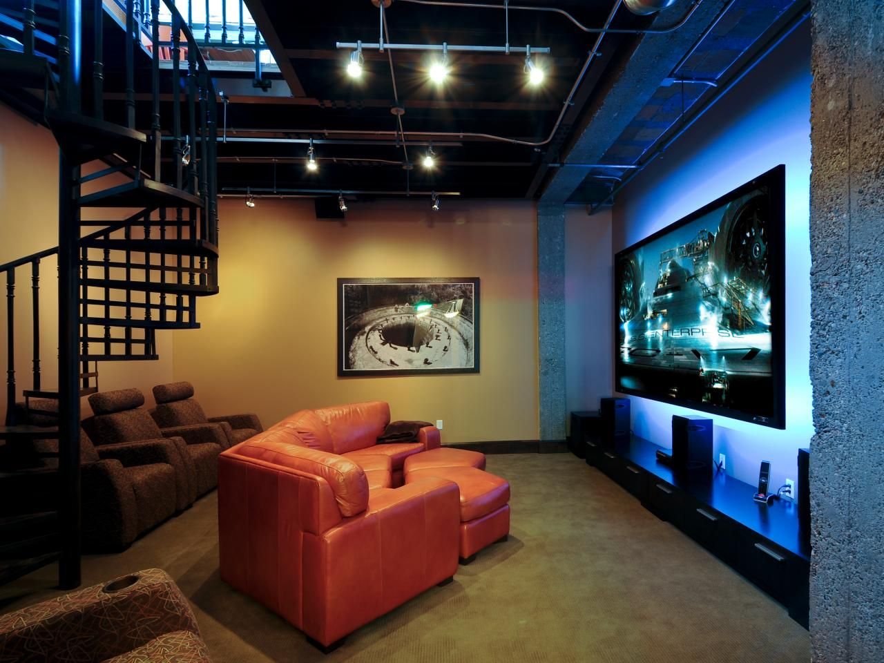 Industrial theater | House - Theater | Pinterest | Small media rooms