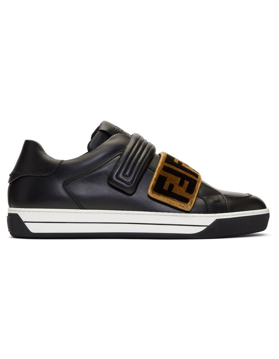 822be945a4 b>FENDI</b><br> Black Tapestry Logo Sneakers in 2019 | Men Shoes ...