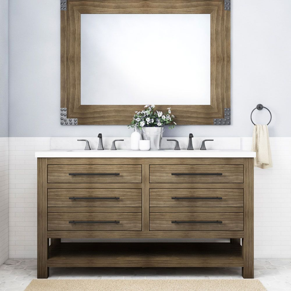 Allen Roth Kennilton 60 In Gray Oak Double Sink Bathroom Vanity