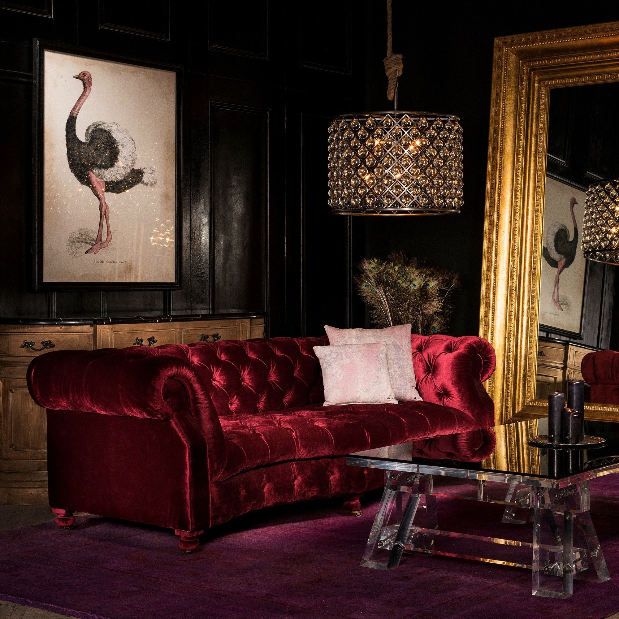 The Serpentine Sofa By Timothy Oulton Upholstered In Luxurious Siren Dusk Velvet Is An Opulent Addi Living Room Decor Cozy Living Room Red Interior Furniture