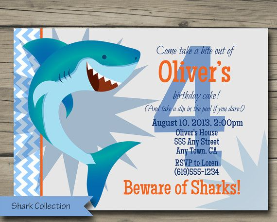 Shark Bite Birthday Party Invitation Printable Invite Card DIY