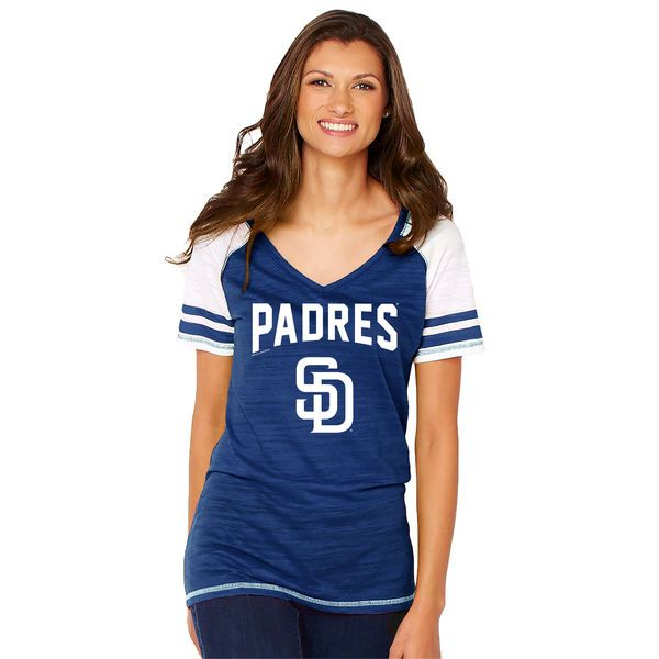 San Diego Padres Soft as a Grape Women's Sleeve Stripe Gameday V-Neck Tri-Blend T-Shirt - Navy - $29.99
