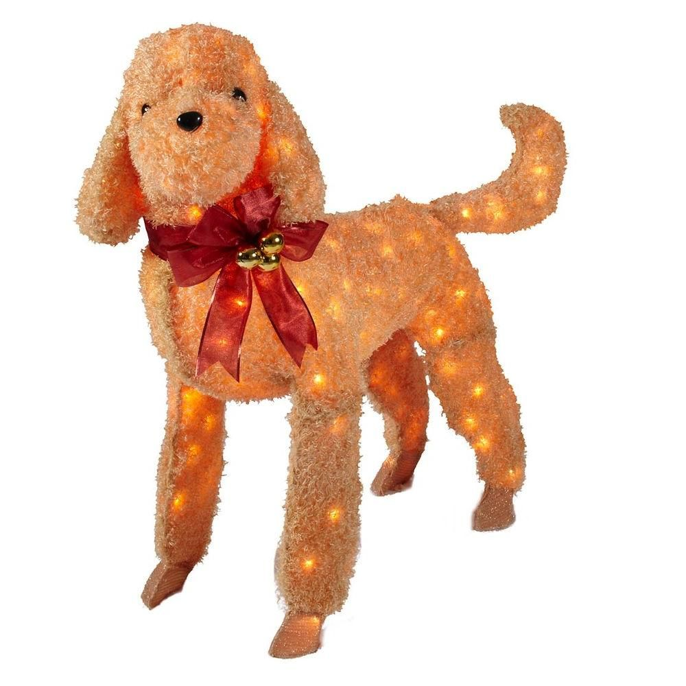 brown tinsel lighted dog ty550 1414 at the home depot