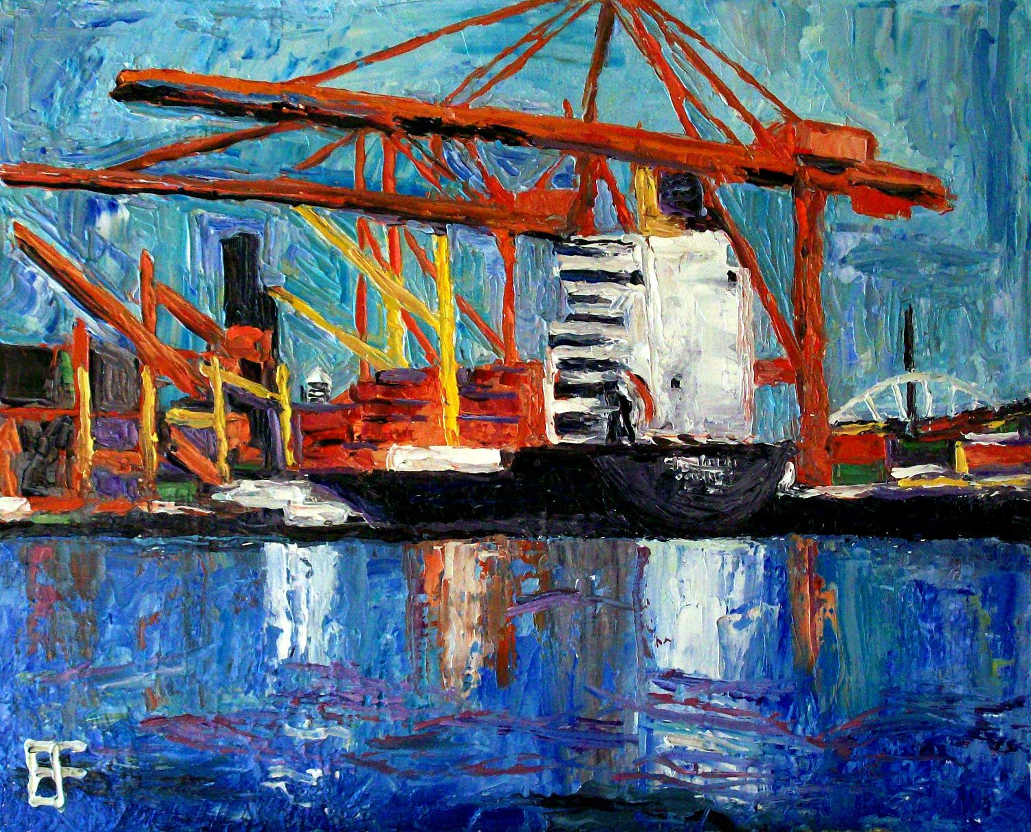 """In the words of Allen Forrest, """"painting is a cross between a crap shoot, finding your way out of the woods, and performing magic.""""  Find his work, including """"Port of Seattle #1,"""" at http://terrain.org/2014/arterrain/seattle-blues-paintings"""