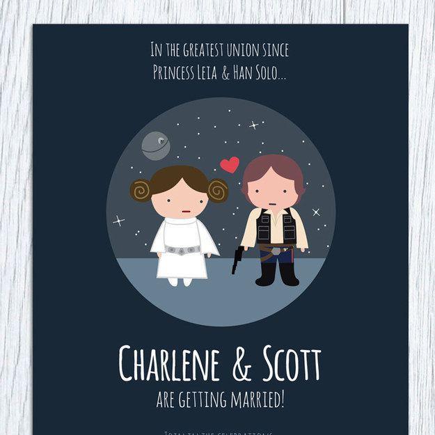18 Wedding Invitations That Will Make Your Inner Nerd Insanely Happy Star Wars Wedding Nerdy Wedding Printable Wedding Invitations
