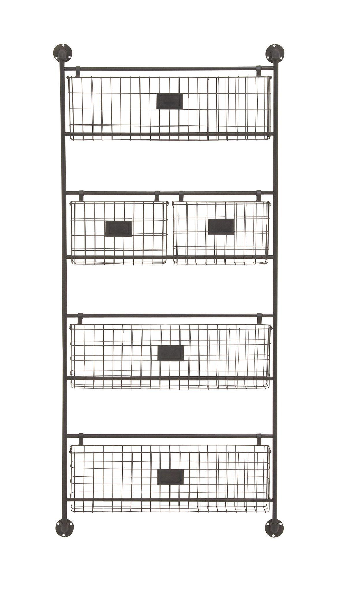 61 Large Black Metal Wall Shelf Basket Letter Organizer Industrial Look Baskets On Wall Vintage Boys Bedrooms Metal Wall Basket