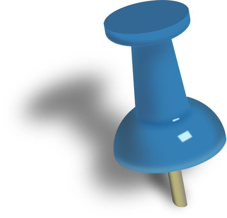 Menggambar Pin, Pushpin, Menekan Pin, Paku, Biru Biru