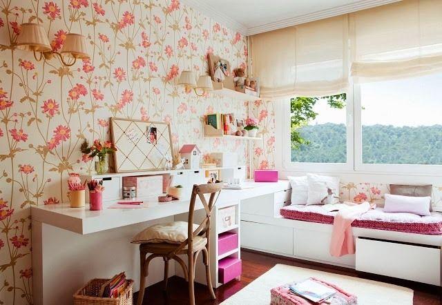 jugendzimmer wandgestaltung mit retro tapeten feminine muster wieder im trend home. Black Bedroom Furniture Sets. Home Design Ideas
