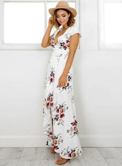 Elegant V Neck Short Sleeve High Split Floral Printed Maxi Dress novashe.com 98cd0d43b