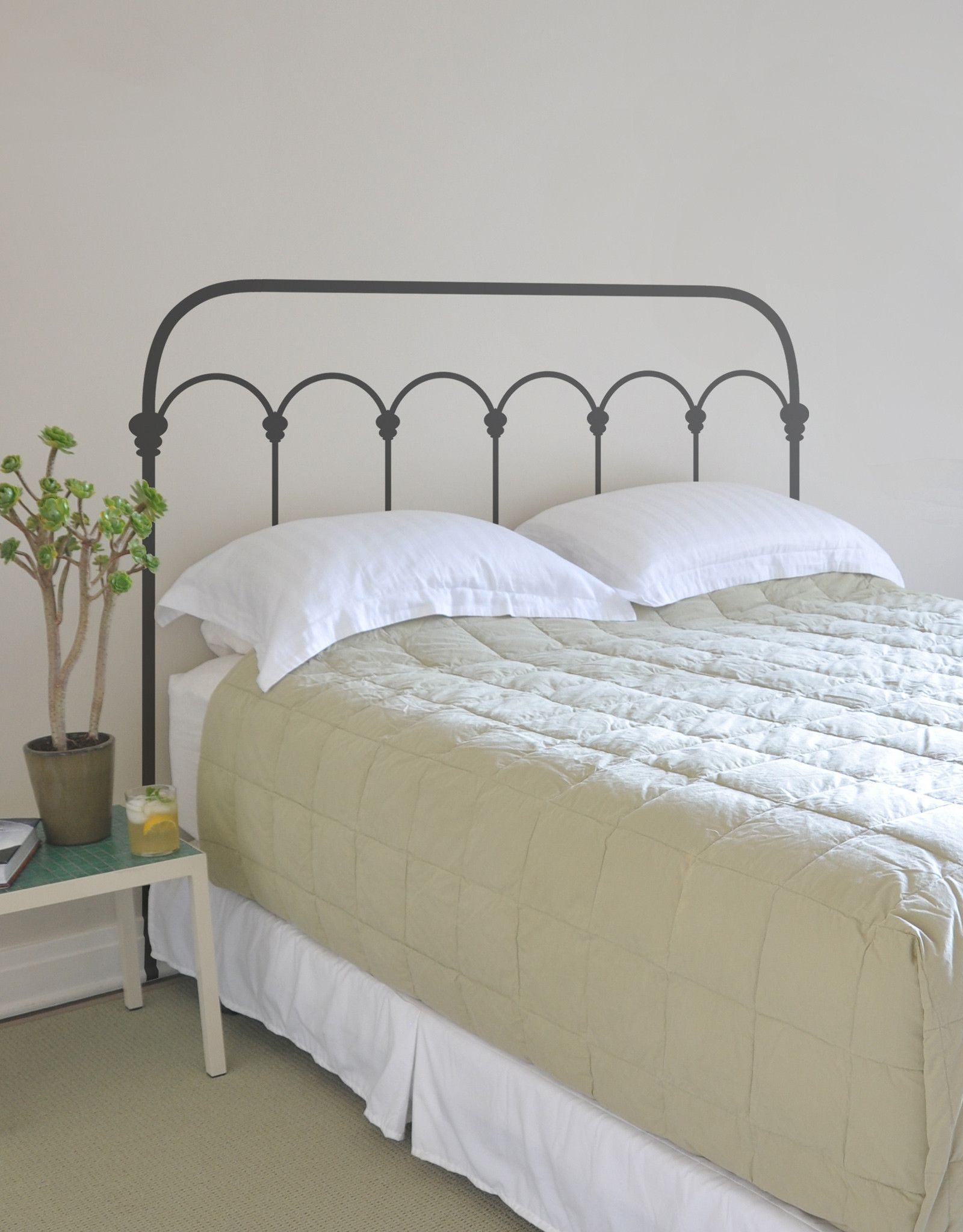 Wrought iron headboard by mina javid for blik wall decals is for the minimalist who wants something more than the bare minimum available in twin queen and