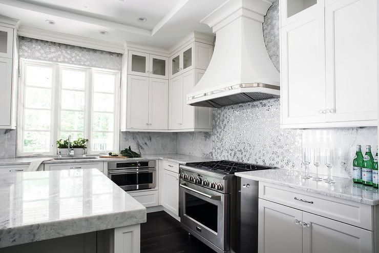 Best Gorgeous White Kitchen Features A White French Hood 400 x 300