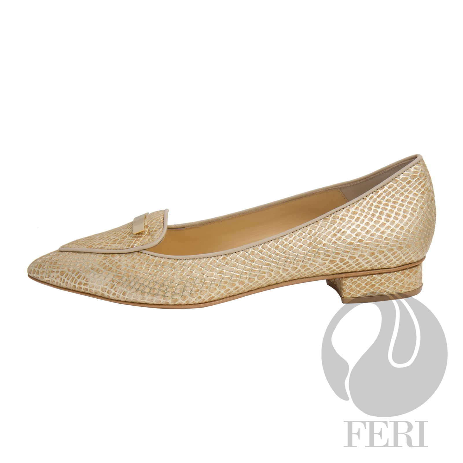Snake skin printed napa leather flat with small heel - Napa leather sole  and insole