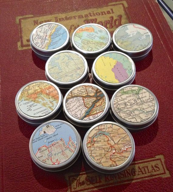 Map Gift Tins  Map Tins for Party Favors Weddings by CrowBiz