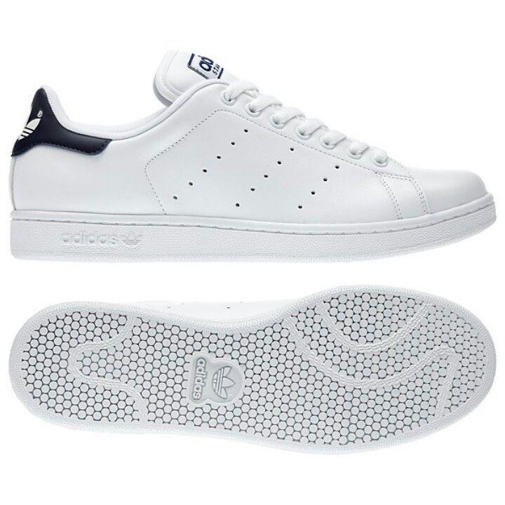 adidas Stan Smith Stripe 3 - white with navy, size 7