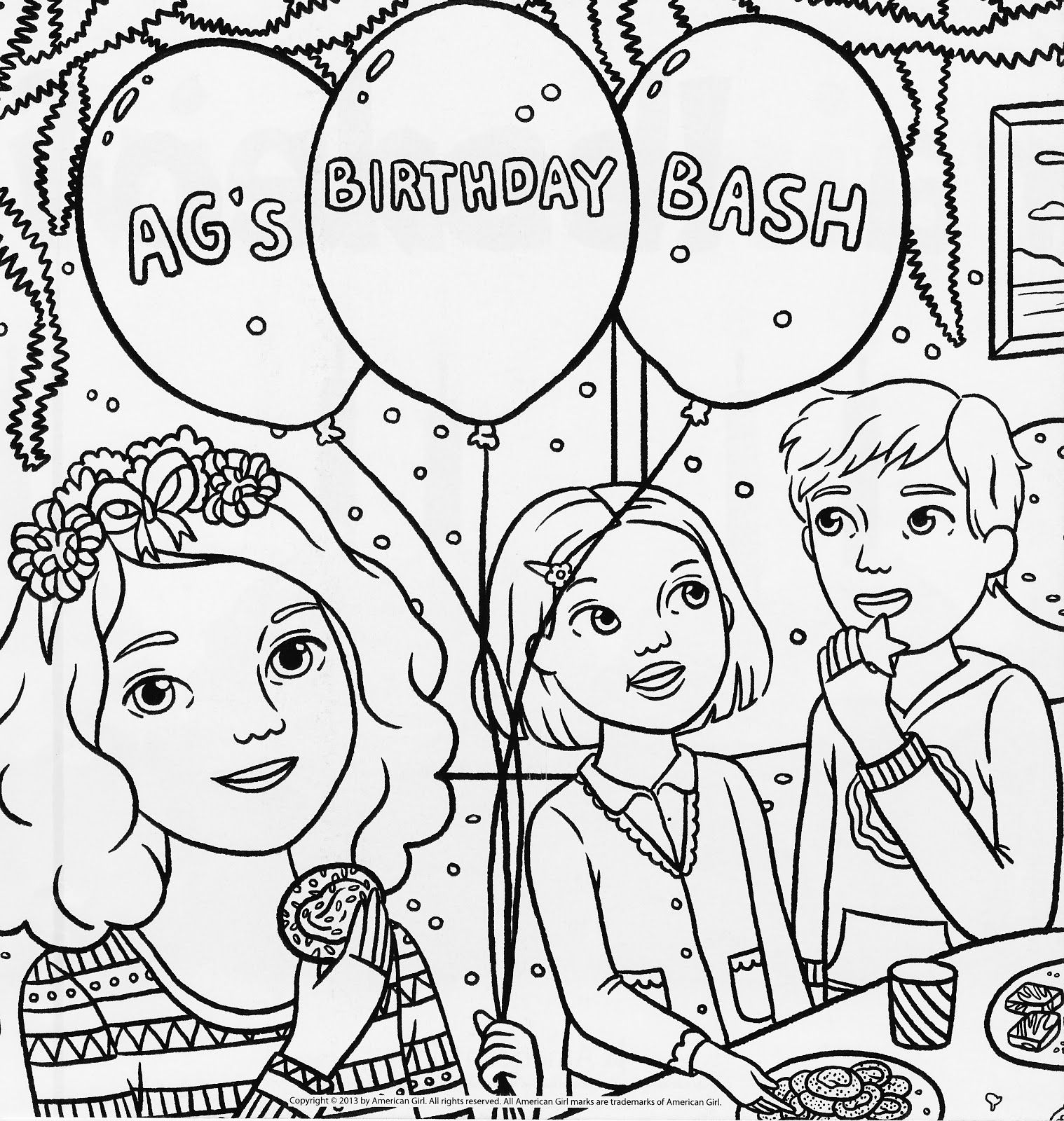 new american girl birthday bash coloring page
