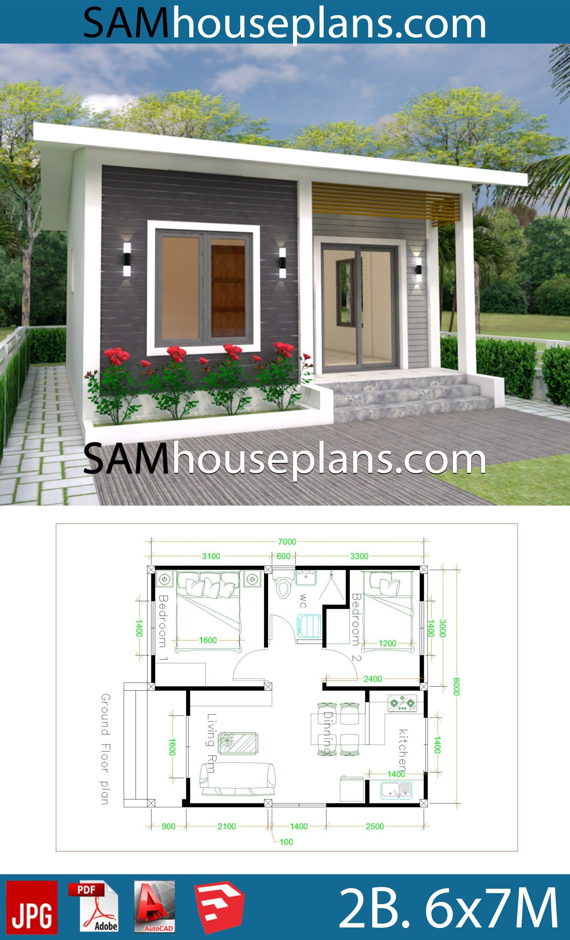 House Plans 6x7m With 2 Bedrooms Full Plansthe House Has Car Parking And Garden Living Room Dining Simple House Design House Design Small House Design Plans