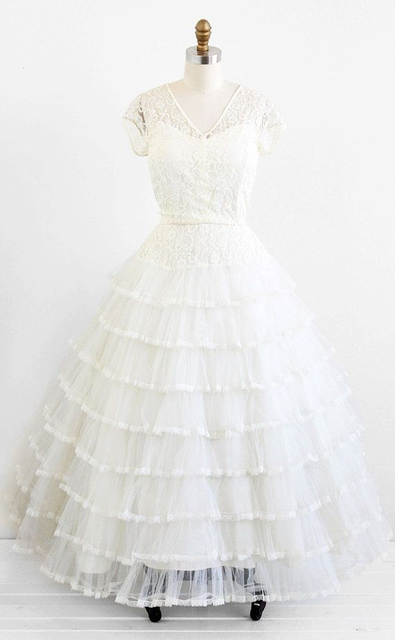 Vintage 1950s Xl Or Plus Size Wedding Gown Vintage Wedding Dress