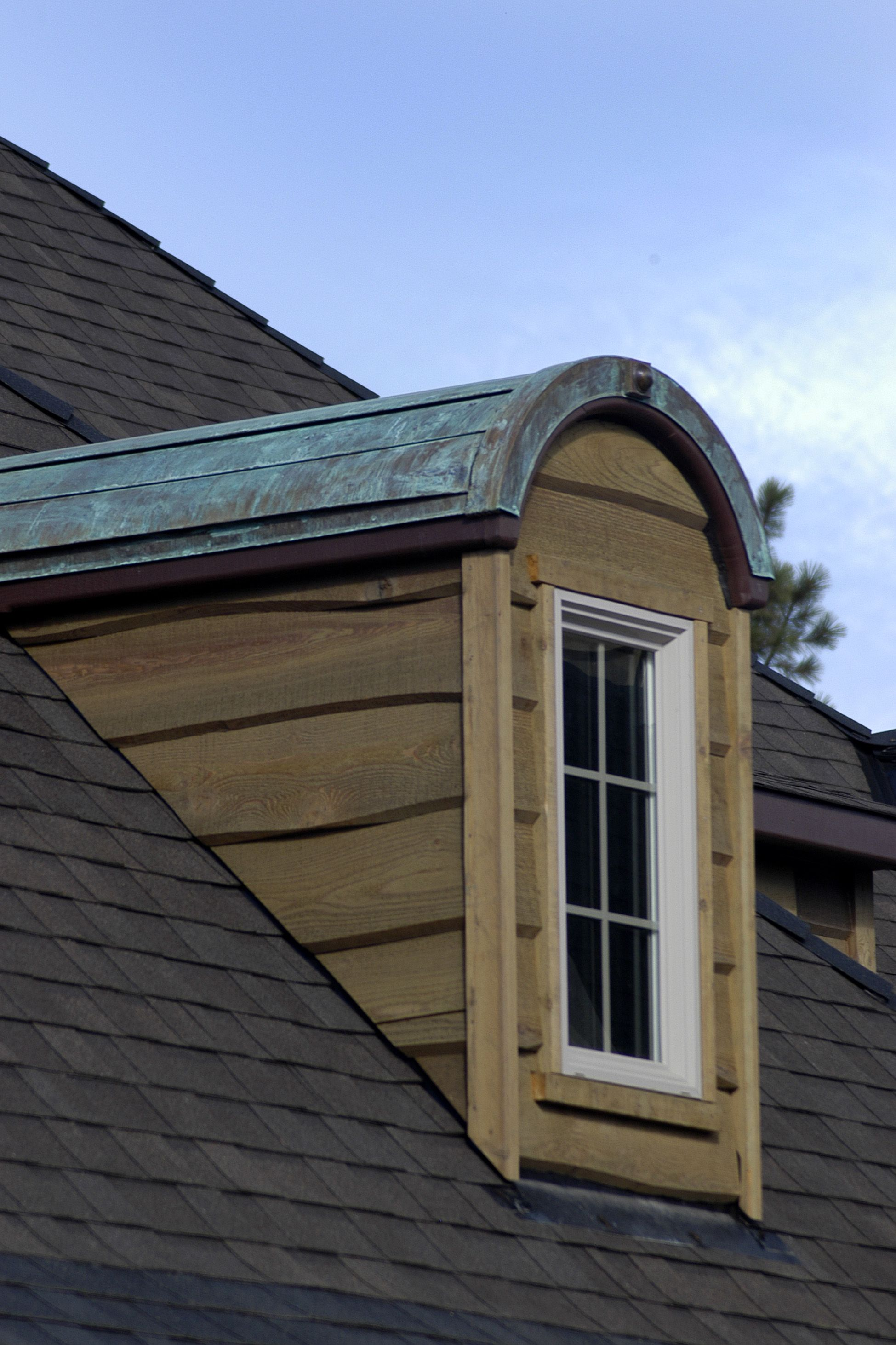 Copper Dormer Detailing And Scurl Siding Built By Jess Alway Homes Bend Oregon Exterior House Remodel French Buildings Copper Roof