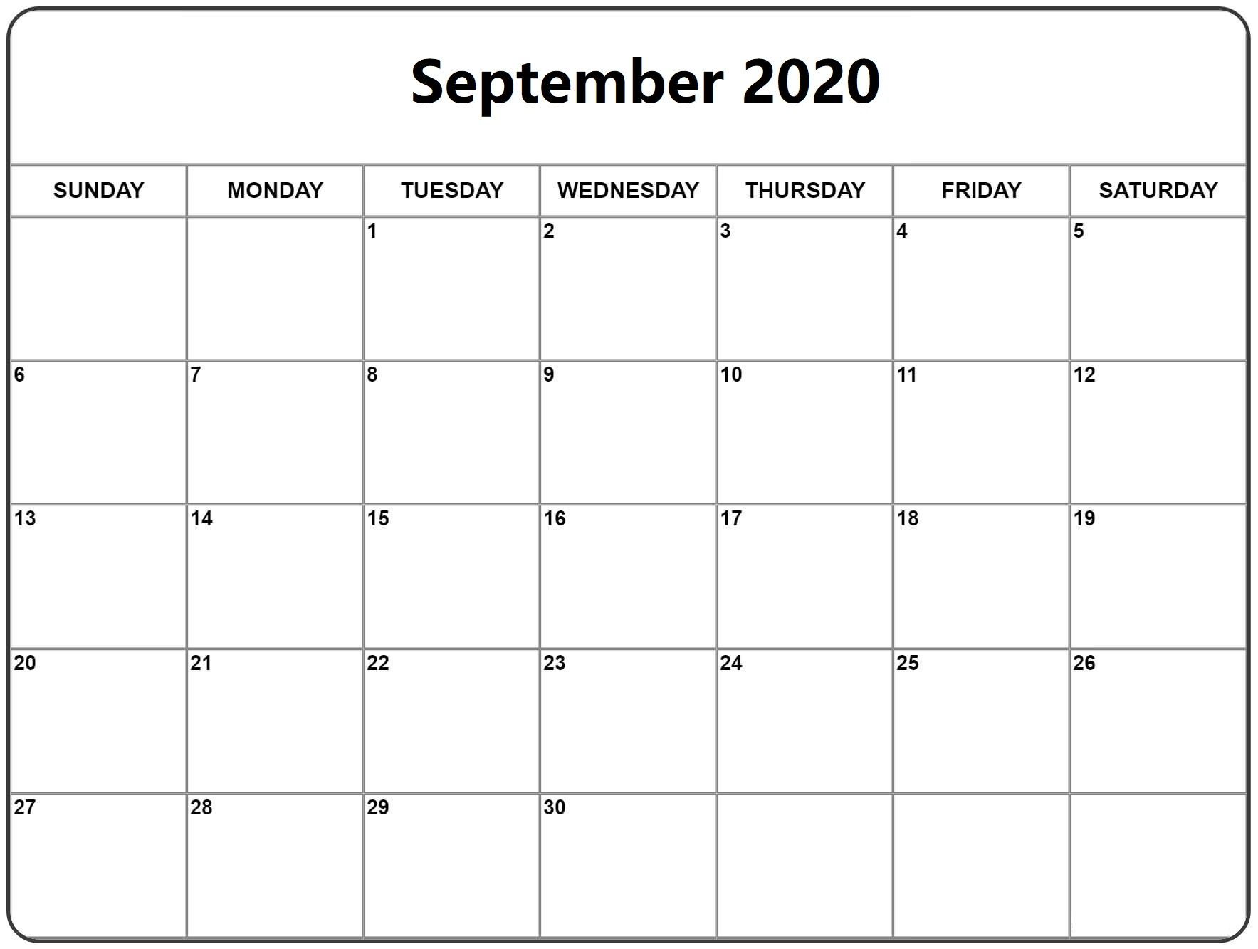 September 2020 Calendar Printable Large Print In 2020 September Calendar July Calendar 2020 Calendar Template