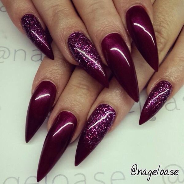 Amazing nails varnish and nail designs to inspire a product easy stiletto nail design solid burgundy polish with glitter simple and easy stiletto nails solutioingenieria Image collections