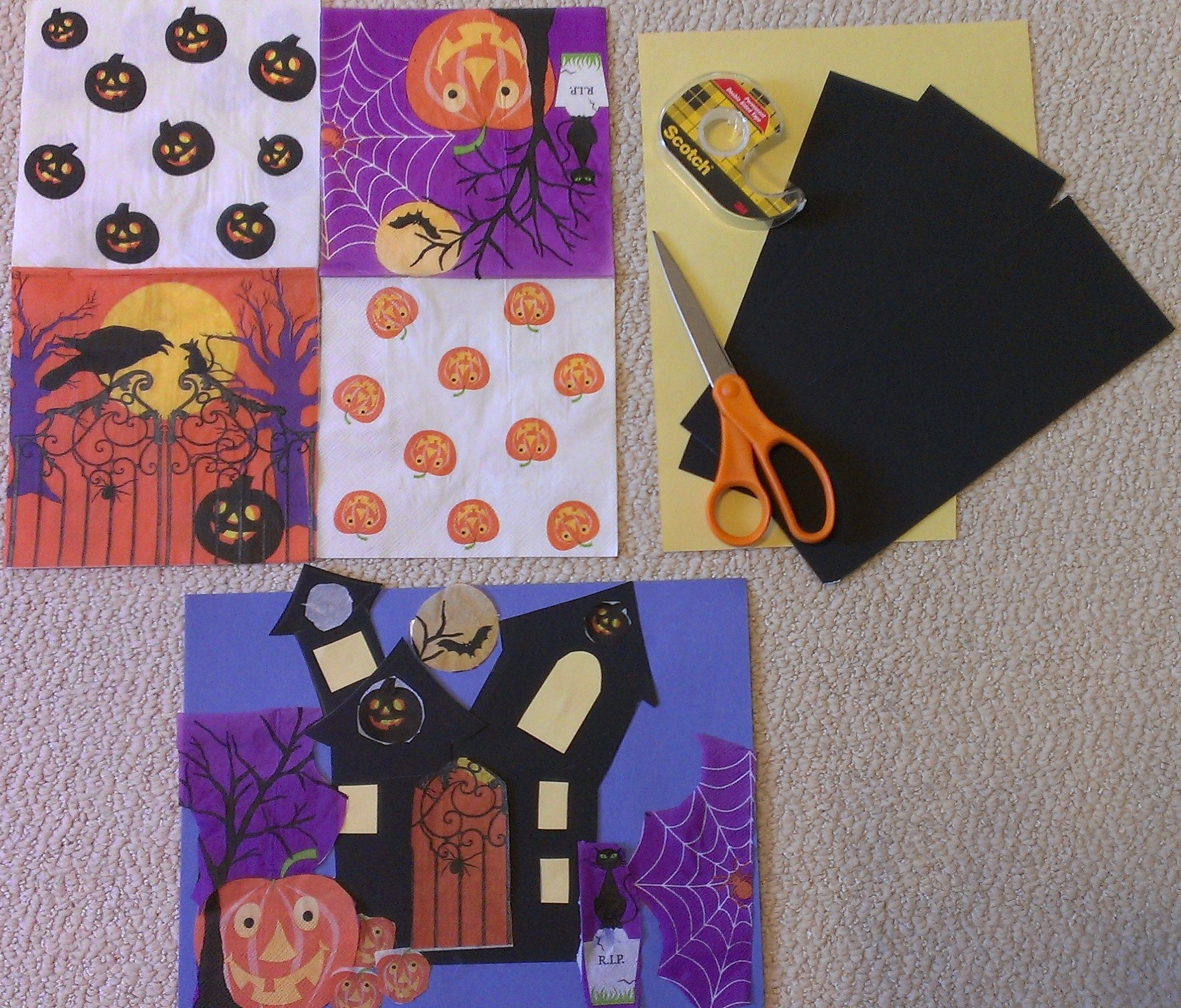 Haunted house collage.Easy and inexpensive Halloween craft for kids. Perfect for classroom party craft. All you need is a Halloween theme paper napkins from dollar store and black card stock for haunted house cutout. Use bright yellow or orange  construction paper scraps for making doors and windows. Cut out parts from the paper napkin and use only glue stick to fix the tissue paper cutouts and create one of a kind haunted house scene. #Halloween craft.