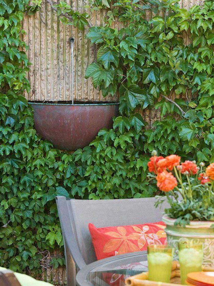 den garten verschönern brunnen design wand pflanzen - gartenbrunnen modernes design