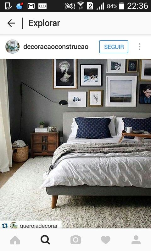 Bedroom inspo. like the colors  light  artwork  bed frame  materials   Havenly