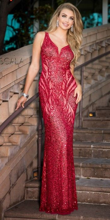 f9fdf87aea0 Plunging Open Back Sequin Motif Prom Dress by Scala  edressme