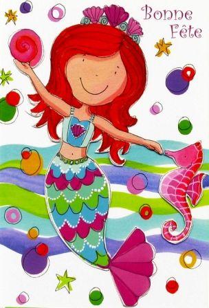 Carte Bonne Fete Fille.E01 06 48 Carte Bonne Fete Enfant Mermaid Party Fiesta