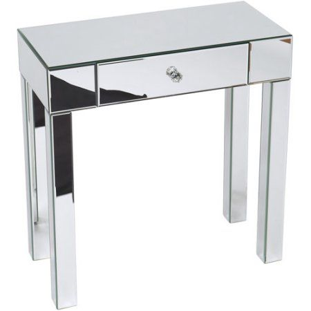 Avenue Six Mirrored Reflections Foyer Table Grey Furniture Accent