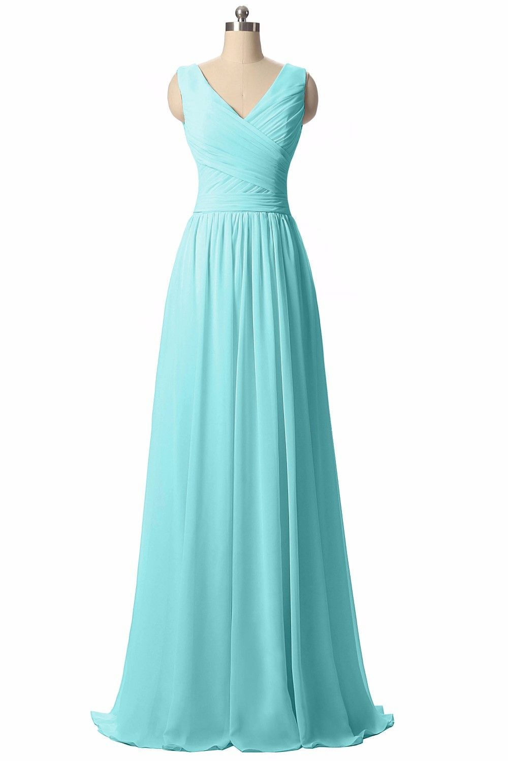 Long Chiffon V Neck Bridesmaid Dress   Bridal stores, Bride bouquets ...