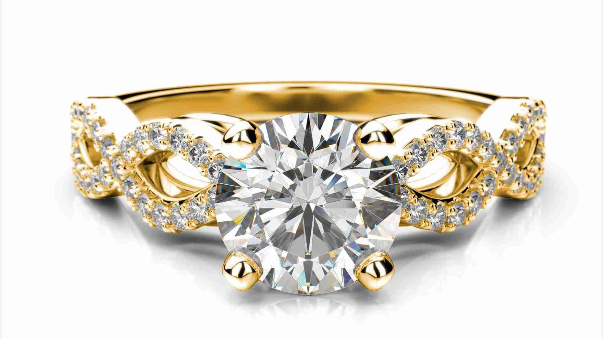 Zlatý zásnubný prsteň TALA zo žltého zlata 14 karátové briliant okrúhly solitaire s postrannými diamantmi