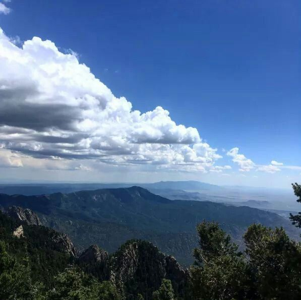 At the top of the Sandia Mountains in Albuquerque, New Mexico