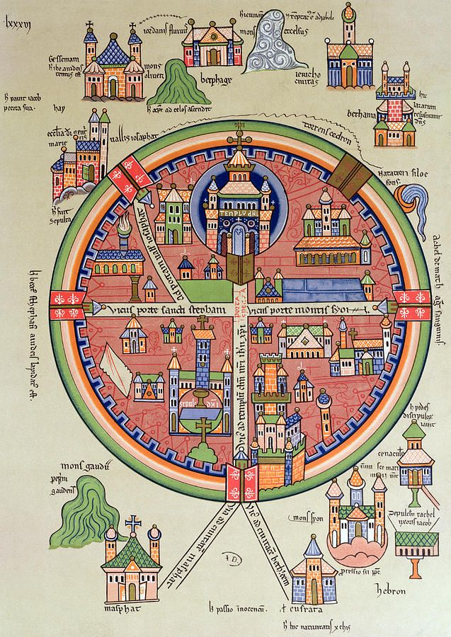 Map of jerusalem and palestine including sacred sites and the map of jerusalem and palestine including sacred sites and the temple of solomon by french gumiabroncs Images
