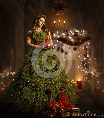 Woman Christmas Tree Dress Fashion Model In Xmas Gown Costume Fairy Magic Night Christmas Tree Dress Tree Dress Christmas Tree Costume