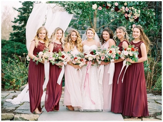 Burgundy And Pink Lace Mix And Match Bridesmaid Dresses By David S Bridal Photo By Sara Bee Photograph Bridesmaid Bridesmaid Colors Bridesmaid Dressing Gowns